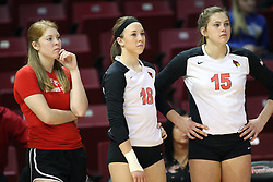 02 November 2012:  Shannon McGalughlin, Kaitlyn Early and Ashley Rosch during an NCAA womens volleyball match between the Missouri State Bears and the Illinois State Redbirds at Redbird Arena in Normal IL