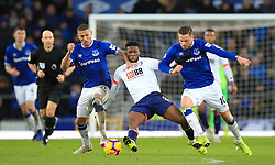 Bournemouth's Jefferson Lerma (centre) battles for the ball with Everton's Richarlison (left) and Everton's Gylfi Sigurdsson during the Premier League match at Goodison Park, Liverpool.