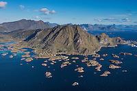 Aerial view over coast and mountains near village of Steine, Vestvågøy, Lofoten Islands, Norway
