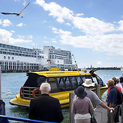 The Ferry Terminal at Auckland Harbour, showing the Hilton Hotel in the background. Auckland, North Island, New Zealand, 31st October 2010. Photo Tim Clayton