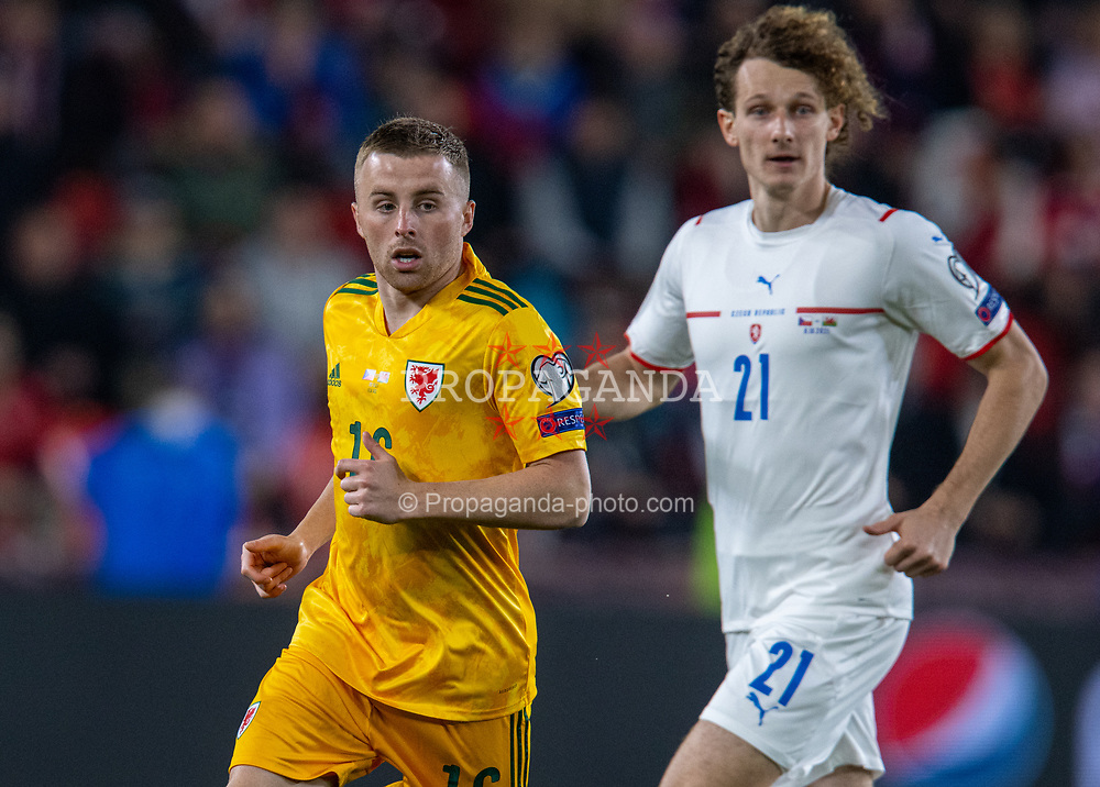 PRAGUE, CZECH REPUBLIC - Friday, October 8, 2021: Wales' Joseff Morrell during the FIFA World Cup Qatar 2022 Qualifying Group E match between Czech Republic and Wales at the Sinobo Stadium. The game ended in a 2-2 draw. (Pic by David Rawcliffe/Propaganda)
