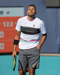 March 22, 2019 - Miami Gardens, Florida, United States Of America - MIAMI GARDENS, FLORIDA - MARCH 22:  Nick Kyrgios on Day 5 of the Miami Open Presented by Itau at Hard Rock Stadium on March 22, 2019 in Miami Gardens, Florida..People: Nick Kyrgios. (Credit Image: © SMG via ZUMA Wire)