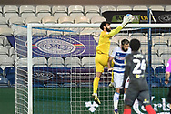 Brentford Goalkeeper David Raya Martin(1) catches the ball  during the EFL Sky Bet Championship match between Queens Park Rangers and Brentford at the Kiyan Prince Foundation Stadium, London, England on 17 February 2021.
