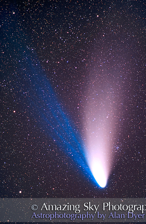 Comet Hale-Bopp<br /> April 7, 1997<br /> 180mm lens at f/2.8<br /> Ektachrome Elite II 100 slide film (very fine grain)<br /> about 10 minute exposure, tracked at sidereal rate, not on comet<br /> Taken from home in Alberta.