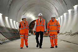 File photo dated 04/11/15 of the Duke of Edinburgh (centre), Crossrail Chief Executive Andrew Wolstenholme (right) and Project Manager Linda Miller during a tour of the new Crossrail station 30 metres below Farringdon in London. The Duke of Edinburgh has died, Buckingham Palace has announced. Issue date: Friday April 9, 2020.. See PA story DEATH Philip. Photo credit should read: Stefan Rousseau/PA Wire