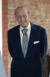 The Duke of Edinburgh leaving Chapel Royal in St James's Palace, London, after an Order of Merit service.