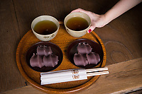 A popular sweet, akafuku and mochi (red bean paste with rice cake inside), with tea at a Japanese tea house.