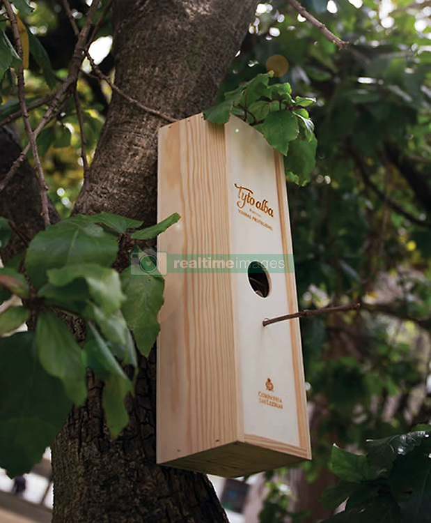 """July 13, 2017 - Portugal - Ecology-conscious wine lovers can help local wildlife – by turning the packaging of their favourite tipple into to a bird box.The wine comes with a label featuring a barn owl.It is packed in a wooden bow which features a hole where the bird on the label is seen peeking out from.When the wine has been drunk, the box slid slides back on and it can he hung on a tree and used as a bird box.There is even a twig sticking out for the wild birds to perch on.Portuguese wine maker Companhia das Lezírias commissioned the Rita Rivotti Design Studio to create an innovative box.A spokesman said the label is very aware of environmental issues.Its own environmental projects included encouraging the return of barn owls to its vineyards where the birds keep down the local rodent population in check.The species has the scientific name is Tyto alba.Inspired by the connection between vineyards and the barn owl, the designer firm came up with the name Tyto Alba wine and the bird box packaging.A spokesman for the design studio said:"""" The owls are featured and portrayed in a special design that makes them come to life, reminding you of a watchful personality, conveying quality, and reliability.""""The packaging of the bottle represents respect for nature and protection of a species, increasing consciousness of the importance to become more than just wine lovers.""""Once you open the box, you can use the packaging as a bird house."""" # UNE BOITE DE VIN DEVIENT UN NICHOIR A OISEAUX (Credit Image: © Visual via ZUMA Press)"""