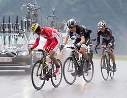 """10.07.2014, Grossglockner Hochalpenstrasse, AUT, 66. Österreich Radrundfahrt, 5. Etappe, Matrei nach St. Johann Alpendorf, im Bild v.l. Johan Bagot (FRA), Jesse Sergent (NZL) Gregor Mühlberger (AUT) beim Anstieg zur Bergwertung """"Glocknerkönig"""" during the 66 th Tour of Austria, Stage 5, from the Matrei to St. Johann Alpendorf, Grossglockner Hochalpenstrasse, Austria on 2014/07/10. EXPA Pictures © 2014, PhotoCredit: EXPA/ Johann Groder"""