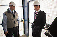 NEW YORK, NY – NOVEMBER 8, 2013:  CEO of Marriott Hotels, Arne Sorenson, right, at the at the Metropolitan Life Insurance Company Tower on Madison Square Park in Manhattan where a new brand of Marriott Hotels, Edition Hotel New York, is being installed and set to open in 2015. <br /> <br /> Photo © Robert Caplin