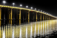 Ocean Spring bridge at night connecting Biloxi to OS.