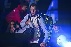 November 14, 2017 - London, United Kingdom - Jack Sock during the singles match against Marin Cilic on day three of the Nitto ATP World Tour Finals at O2 Arena on November 14, 2017 in London, England. (Credit Image: © Alberto Pezzali/NurPhoto via ZUMA Press)