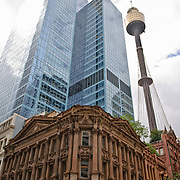 Contrasting architectural styles in Sydney's Central Business District, with Centrepoint Tower at right
