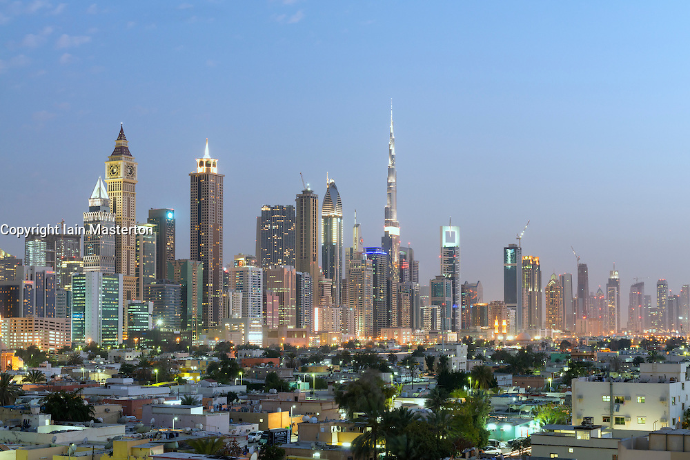 Skyline of skyscrapers on Sheikh Zayed Road and old district of Satwa in Dubai United Arab Emirates
