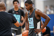 ST. LOUIS, MO June 8, 2018 - Nike Elite 100.   Nate Tabor 2020 #45 of NY Rens takes instruction. <br /> NOTE TO USER: Mandatory Copyright Notice: Photo by Jon Lopez / Nike