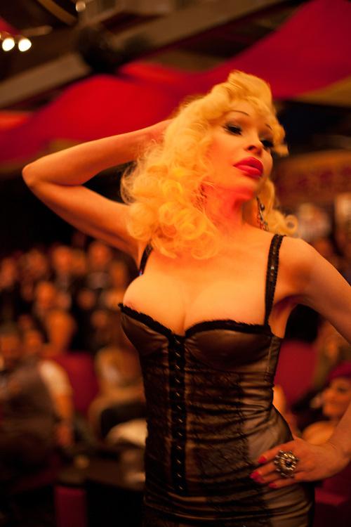 Amanda Lepore on the catwalk
