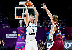 Luka Doncic of Slovenia vs Janis Timma of Latvia during basketball match between National Teams of Slovenia and Latvia at Day 13 in Round of 16 of the FIBA EuroBasket 2017 at Sinan Erdem Dome in Istanbul, Turkey on September 12, 2017. Photo by Vid Ponikvar / Sportida