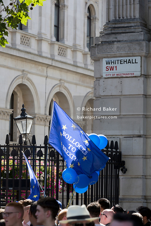 On the day that Britain's new Conservative Party Prime Minister, Boris Johnson enters Downing Street to begin his government administration, replacing Theresa May after her failed Brexit negotiations with the European Union in Brussels, pro-EU remainers protest outside Downing Street, on 24th July 2019, in Westminster, London, England.