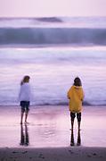Image of beachcombing near Newport, Oregon, Pacific Northwest, model released by Randy Wells