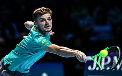 2017?11?17?.    ?????1???——ATP????????????.       11?17?????????.       ???????????ATP???????????????????????????2?0??????????.       ???????????????..(SP) BRITAIN-LONDON-TENNIS-ATP FINALS-GOFFIN VS THIEM.(171117) -- LONDON, Nov. 17, 2017  David Goffin of Belgium competes during the singles round-robin match against Dominic Thiem of Austria during the Nitto ATP World Tour Finals at O2 Arena in London, Britain on Nov. 17, 2017. David Goffin won 2-0. (Credit Image: © Tang Shi/Xinhua via ZUMA Wire)