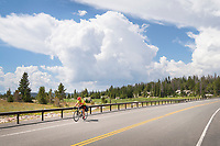 Bicycling on Beartooth Highway Wyoming