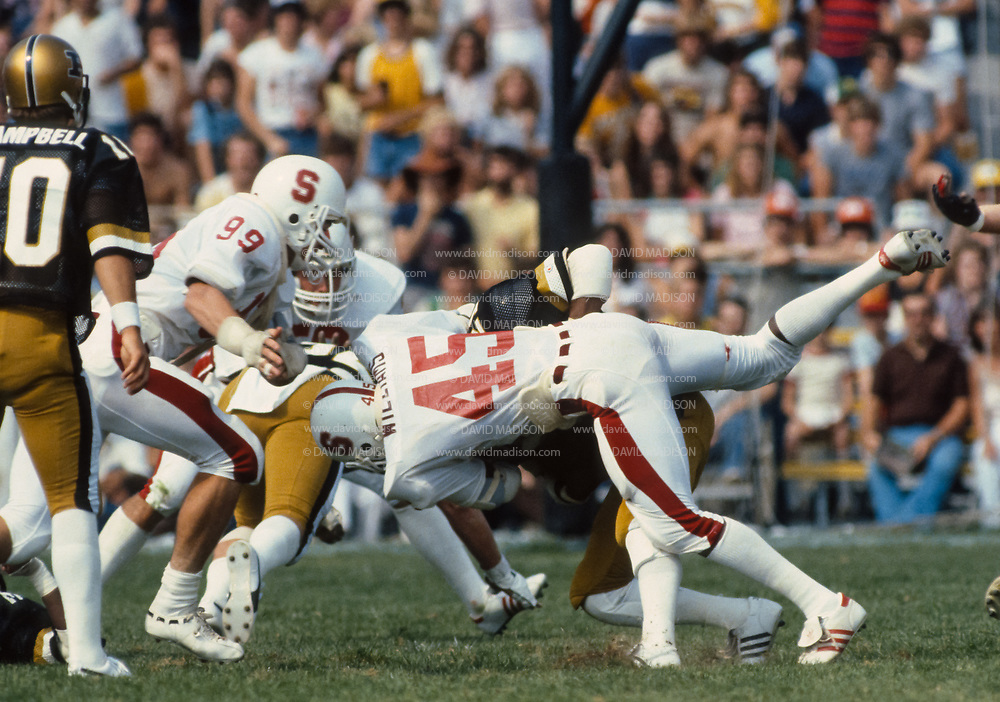 WEST LAFAYETTE, IN - SEPTEMBER 12:  Vaughn Williams #45 of Stanford makes a tackle during an NCAA football game between Stanford University and Purdue University played on September 12, 1981 in Ross-Ade Stadium in West Lafayette, Indiana.  Photograph by David Madison   www.davidmadison.com