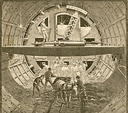 'Alfred Ely Beach's (1826-1896) cylindrical tunnelling shield  being used during work on the Hudson Tunnel Railroad Company's  tunnel, New York. From ''Scientific American'', New York. 1890.'