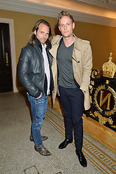 Left to right, SCOTT WALKER and JACK FOX at the Lancôme BAFTA Dinner held at The Cafe Royal, Regent's Street, London on 6th February 2015.