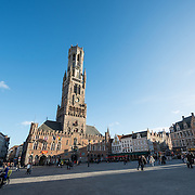 The Markt (Market Square) in the historic center of Bruges, a UNESCO World Heritage site.