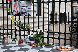 London, UK. 19th January, 2019. Tributes to Paweł Adamowicz, the Mayor of Gdansk who died on Monday after having been fatally stabbed the previous evening at a charity event, lie outside the Polish embassy. Thousands of Poles attended his funeral in Gdansk today. Mr Adamowicz served as the mayor of his home city of Gdansk for 20 years and was well-known for his liberal views and as a critic of the anti-immigration policies of Poland's ruling party.
