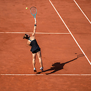 PARIS, FRANCE June 10. Maria Sakkari of Greece in serving against Barbora Krejcikova of the Czech Republic on Court Philippe-Chatrier during the semi finals of the Women's singles competition at the 2021 French Open Tennis Tournament at Roland Garros on June 10th 2021 in Paris, France. (Photo by Tim Clayton/Corbis via Getty Images)