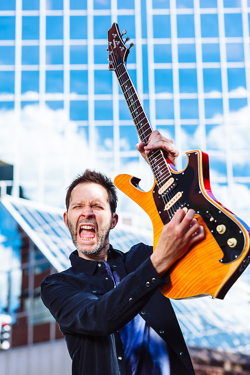 Paul Gilbert (Mr. Big, Racer X) photographed in Portland, Oregon for Guitar Player Magazine's Oct 2016 cover.