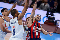 Baskonia's Shane Larkin and Real Madrid's Anthony Randolph during Semi Finals match of 2017 King's Cup at Fernando Buesa Arena in Vitoria, Spain. February 18, 2017. (ALTERPHOTOS/BorjaB.Hojas)