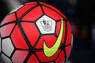 a close up view of the match ball before k/o. Barclays Premier league match, Tottenham Hotspur v Manchester Utd at White Hart Lane in London on Sunday 10th April 2016.<br /> pic by John Patrick Fletcher, Andrew Orchard sports photography.
