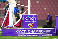 The SPFL Championship flag wait to be raised before the Cinch SPFL Premiership match between Heart of Midlothian FC and Celtic FC at Tynecastle Park, Edinburgh, Scotland on 31 July 2021.