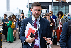 © Licensed to London News Pictures. 25/09/2021. Brighton, UK. JIM MCMAHON outside the conference . The first day of the 2021 Labour Party Conference , which is taking place at the Brighton Centre . Photo credit: Joel Goodman/LNP