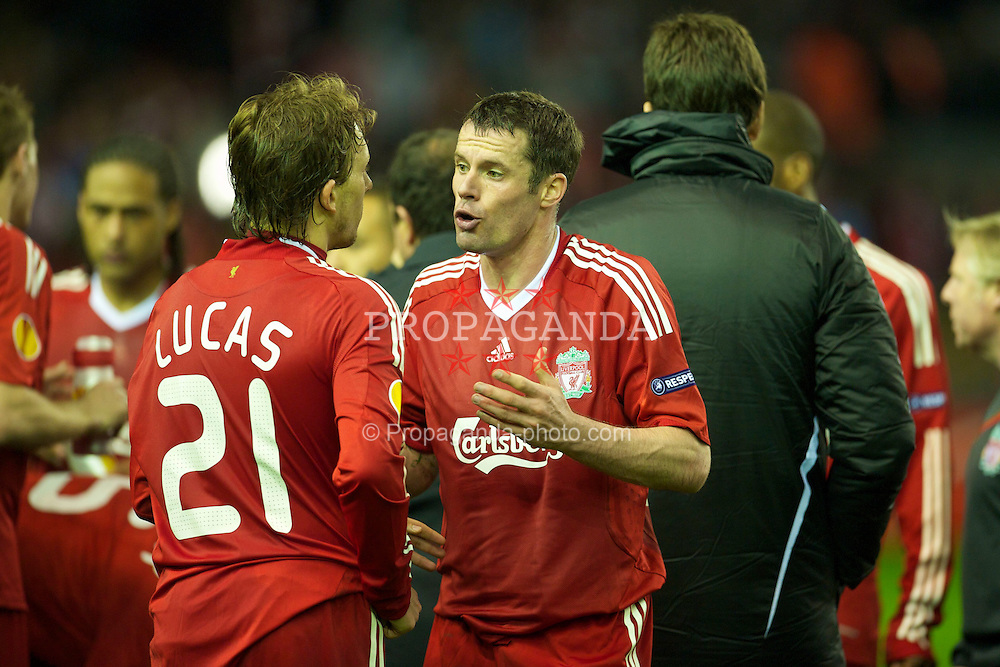 LIVERPOOL, ENGLAND - Thursday, April 29, 2010: Liverpool's Jamie Carragher gives instructions to Lucas Leiva as the UEFA Europa League Semi-Final 2nd Leg match against Club Atletico de Madrid goes into Extra Time at Anfield. (Photo by: David Rawcliffe/Propaganda)
