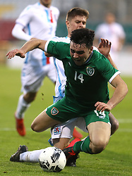 Republic of Ireland's Liam Kerrigan (left) is brought down by Luxembourg's Franz Sinner which results in a penalty kick during the UEFA Under-21 Championship Qualifying Round Group F match at the Tallaght Stadium, Dublin. Picture date: Friday October 8, 2021.