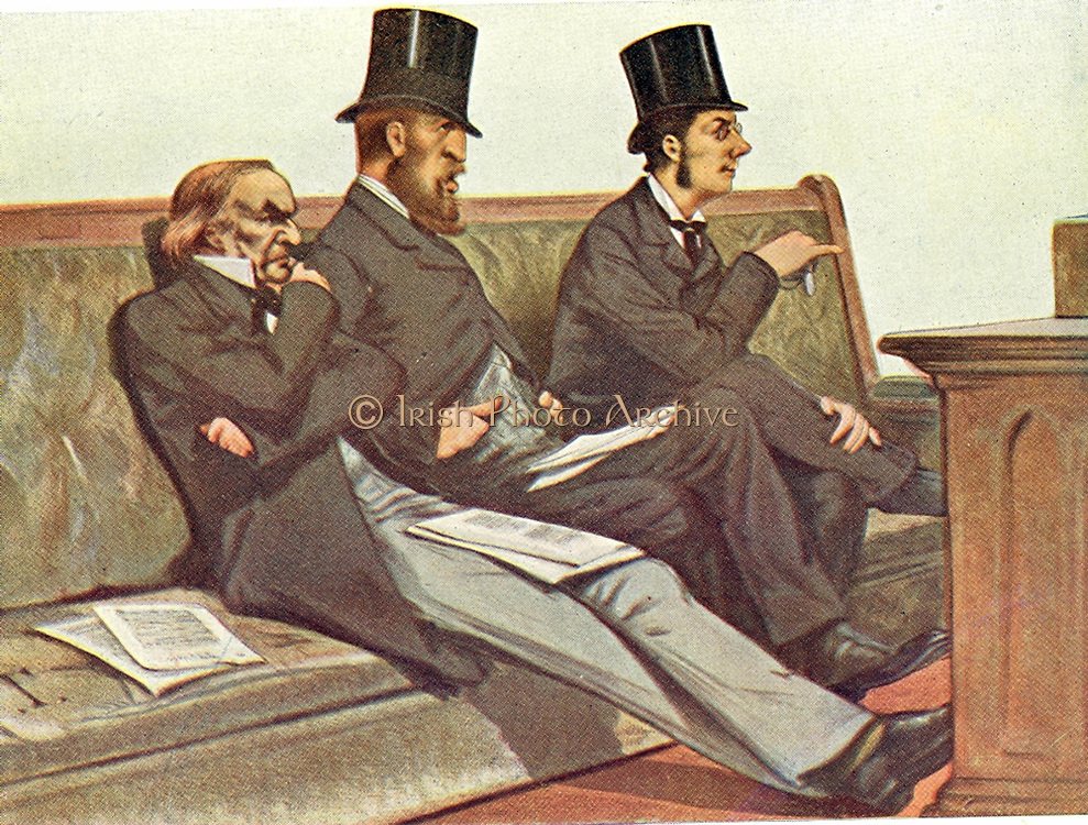 Babble, Birth, and Brummagem' (Talk, Aristocracy, and Birmingham): Gladstone, the Duke of Devonshire and Joseph Chamberlain on the Liberal front  bench. After cartoon from 'Vanity Fair', London, July 1880.