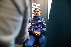March 1, 2019 - Las Vegas, NV, U.S. - LAS VEGAS, NV - MARCH 01: Kyle Larson (42) Chip Ganassi Racing Chevrolet Camaro ZL1 answers questions from the media in the ThriveHive Digital Center prior to practice and qualifying for the Monster Energy NASCAR Cup Series Pennzoil 400 on March 1, 2019, at Las Vegas Motor Speedway in Las Vegas, NV. (Photo by Joe Buglewicz/Icon Sportswire) (Credit Image: © Joe Buglewicz/Icon SMI via ZUMA Press)