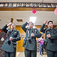 022113       Cable Hoover<br /> <br /> Gallup High School JROTC members Wayne Lefkins, left, Michael Resendiz, Gregory Winkler, Santiago Garcia and Tyler Johnson rehearse their color guard routine during their annual banquet at the Gallup Elks Lodge Thursday.