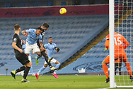 Manchester City forward Gabriel Jesus (9) heads just wide during the Premier League match between Manchester City and Burnley at the Etihad Stadium, Manchester, England on 28 November 2020.