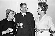 09/04/1964<br /> 04/09/1964<br /> 09 April 1964<br /> Goya Cosmetics Reception at the Russell Hotel, Dublin. Pictured at the reception were (l-r): Petronella O'Flanagan, Radio Eireann; F.C. Palmer, Managing Director, Reckitts (Ireland) Ltd and Mrs P. Patrick, Goya.