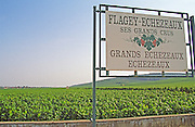 Sign saying Flagey Echezeaux, Grands Echezeaux, Echezeaux in the vineyards, Bourgogne
