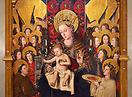 Virgin Mary; Mother of God; The Virgin; Mare de deu; Gothic altarpiece of Madonna and Child by Joan Reixach of Barcelona, circa 1450, tempera and gold leaf on wood, from the sanctuary of San Pau d'Albocasser, Castello..  National Museum of Catalan Art, Barcelona, Spain, inv no: MNAC  64055. Against a art background. .<br /> <br /> If you prefer you can also buy from our ALAMY PHOTO LIBRARY  Collection visit : https://www.alamy.com/portfolio/paul-williams-funkystock/romanesque-art-antiquities.html<br /> Type -     MNAC     - into the LOWER SEARCH WITHIN GALLERY box. Refine search by adding background colour, place, subject etc<br /> <br /> Visit our ROMANESQUE ART PHOTO COLLECTION for more   photos  to download or buy as prints https://funkystock.photoshelter.com/gallery-collection/Medieval-Romanesque-Art-Antiquities-Historic-Sites-Pictures-Images-of/C0000uYGQT94tY_Y .<br /> <br /> If you prefer you can also buy from our ALAMY PHOTO LIBRARY  Collection visit : https://www.alamy.com/portfolio/paul-williams-funkystock/gothic-art-antiquities.html  Type -     MANAC    - into the LOWER SEARCH WITHIN GALLERY box. Refine search by adding background colour, place, museum etc<br /> <br /> Visit our MEDIEVAL GOTHIC ART PHOTO COLLECTIONS for more   photos  to download or buy as prints https://funkystock.photoshelter.com/gallery-collection/Medieval-Gothic-Art-Antiquities-Historic-Sites-Pictures-Images-of/C0000gZ8POl_DCqE