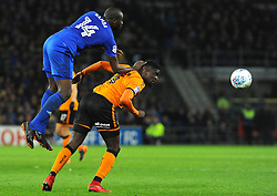 Souleymane Bamba of Cardiff City wins the highball  - Mandatory by-line: Nizaam Jones/JMP- 06/04/2018/ -  FOOTBALL - Cardiff City Stadium - Cardiff, Wales - Cardiff City  v Wolverhampton Wanderers - Sky Bet Championship