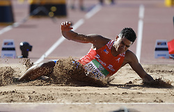 July 10, 2018 - Tampere, Suomi Finland - 180710 Friidrott, Junior-VM, Dag 1: Ayden Owens PUR competes in men's Decathlon Long jump during the IAAF World U20 Championships day 1 at the Ratina stadion 10. July 2018 in Tampere, Finland. (Newspix24/Kalle Parkkinen) (Credit Image: © Kalle Parkkinen/Bildbyran via ZUMA Press)