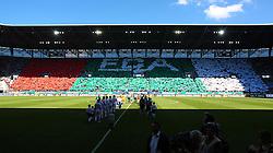 18.05.2013, SGL Arena, Augsburg, GER, 1. FBL, FC Augsburg vs SpVgg Greuther Fuerth, 34. Runde, im Bild Choreografie auf der Gegentribuene, komplett in FCA-Farben, // during the German Bundesliga 34th round match between FC Augsburg and SpVgg Greuther Fuerth at the SGL Arena, Augsburg, Germany on 2013/05/18. EXPA Pictures © 2013, PhotoCredit: EXPA/ Eibner/ Klaus Rainer Krieger..***** ATTENTION - OUT OF GER *****