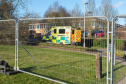 © Licensed to London News Pictures. 08/02/2020. Milton Keynes, UK. A ambulance arrives at the Kents Hill Park Training and Conference Centre. A Milton Keynes conference centre is to house evacuees from the Chinese city of Wuhan, the epicentre of the Novel Coronavirus (2019-nCoV) outbreak, the British citizens are due to be flown back on Sunday 9th February and are expected to land at RAF Brize Norton in Oxfordshire and will remain at the conference centre for 14 days to be monitored. Photo credit: Peter Manning/LNP