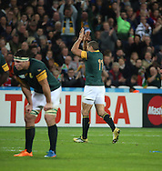 South Africa's Bryan Habana leaving the pitch without breaking Lomu's record during the Rugby World Cup Bronze Final match between South Africa and Argentina at the Queen Elizabeth II Olympic Park, London, United Kingdom on 30 October 2015. Photo by Matthew Redman.